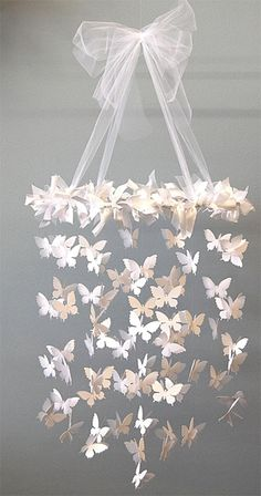 DIY - Butterfly Chandelier using a Craft Punch + Fishing Wire. Step-by-Step Tutorial. for-the-home