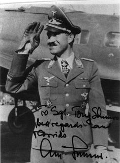 """Adolf """"Dolfo"""" Joseph Ferdinand Galland General der Jagdflieger .Adolf Galland achieved 104 aerial victories in 705 missions, all on the Western front. Included in his score are at least seven victories flying the Me 262 and four four-engined bombers. Galland was the youngest general grade office of either side in World War II and commander of Germany's fighter force from 1941 to 1945."""