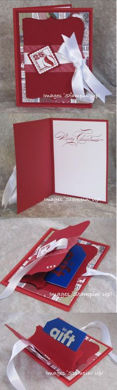 Handmade Gift Card Holder and Christmas Card.  Gift Cards have made holiday shopping a whole lot easier, and a handmade Christmas Card with built-in Gift Card Holder provides a great presentation for your present.  www.stampingmadly.com