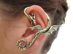 Glitter Neverland dragon earring cuff by StylesBiju on Etsy, $15.90