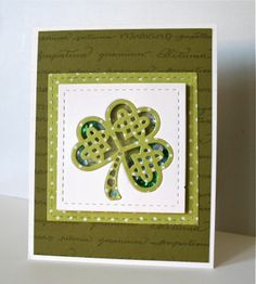 handmade St Patrick's Day card fromMarybeth's time for paper: Serendipity Stamps ... shaker card ... irridescent squins insite ... luv the way the shamrock die is  embedded into the main panel and covers the shader front .... fun card!!