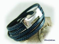 Wrap bracelet leather bracelet women blue by elfenstuebchen