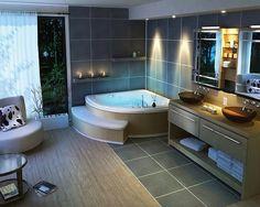 19 Tastefully Elegant Bathroom Designs : Modern Bathroom Spa With Corner Tub And Black Vanity Natural Wooden Floor