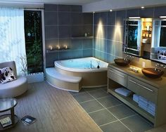 19 Tastefully Elegant Bathroom Designs : Modern Bathroom Spa With Corner Tub And Black Vanity Natural Wooden Floor