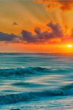 Sunset in the Atlantic ocean in the Dominican Republic
