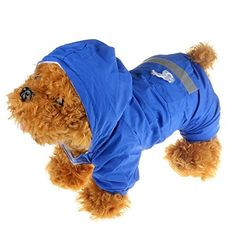 STAR-TOP Pet Dog Cat Raincoat Clothes Puppy Glisten Bar Hoody Apparel Waterproof Camo Rain Jackets(M Blue)