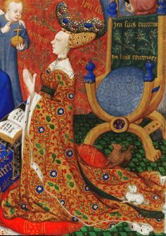 Anne, Duchess of Bedford (detail) - British Library Add MS 18850 f257v cropped - Category:Anne of Burgundy - Wikimedia Commons