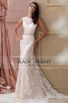 2015 Bateau Column Wedding Dresses Beaded Waistline With Applique Tulle