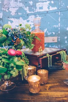 stylish wedding reception bar idea; photo: Ed and Aileen Photography