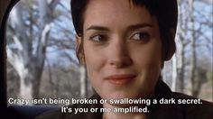 "Girl Interrupted - ""Crazy isn't being broken. Tv Show Quotes, Film Quotes, Movie Shots, Movie Tv, Girl Interrupted Quotes, The Professional Movie, Movie Lines, Winona Ryder, Film Books"