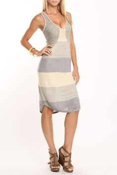 Kensie Cammie Striped Dress In Vanilla - Beyond the Rack