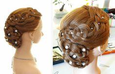 Вечерняя прическа с плетением на длинные волосы. Braided updo, prom hairstyle