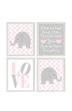 Nursery Art - Elephant Polka Dots Baby Girl Nursery Prints, Gray Pink Wall Art  Love -  First We Had You - Nursery Decor Quote - 4 8x10 on Etsy, $50.00