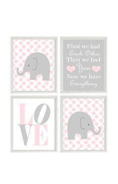 Nursery Art - Elephant Polka Dots Baby Girl Nursery Prints, Gray Pink Wall Art Love - First We Had You - Nursery Decor Quote - 4 8x10 on Etsy, $50.00