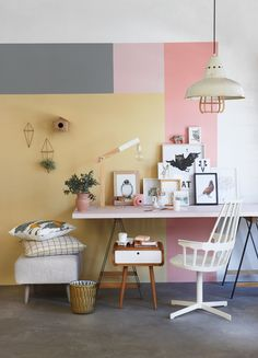 Playful and on-trend this pastel office styled by Liezel Norval-Kruger for Plascon Spaces is soft without being overly sweet.