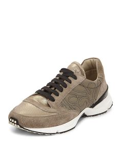 S0D9C Brunello Cucinelli Metallic Monili-Beaded Sneaker, Military