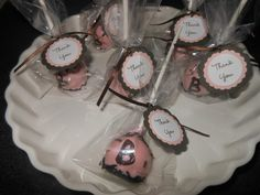 pink brown baby shower girl cake pops  www.facebook.com/popsbyjenn