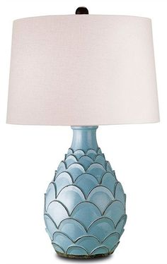FREE SHIPPING IN THE US. USE CODE LOVE10OFF FOR 10% OFF YOUR ENTIRE PURCHASE.  The hand-thrown terracotta scallops of the Roehampton Table Lamp epitomizes texture and style. Understated yet unmissable, the vase-like body is finished in a charming Baby Blue.  Product Name: Roehampton Table Lamp Dimensions: 35h x 21w Number of Lights: 1 Shades: Off White Linen 19x21x14