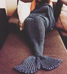 handcrafted crochet half-cocoon mermaid blanket by shopmmmcrochet