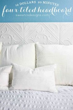 If you want a headboard that is cheap, easy to make and really unique, this faux tile headboard fits the bill. The neat thing is that these tiles are foam and they cost less than $5 in many online stores. You just mount them with mounting tape and you can paint them whatever color you want. If you are looking for a great metal tile look, just spray them with spray paint that will give them a great hammered metal look. .