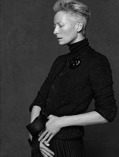 paperomance:    The Little Black Jacket  Star: Tilda SwintonPhotographer: Karl Lagerfeld  Photo: © Chanel