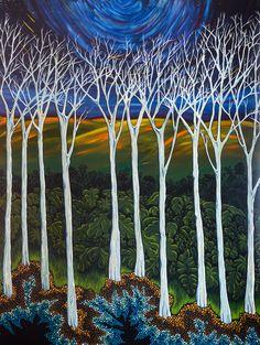 Debbie Fedrick, Acrylic paintings for sale. Acrylic Paintings, Painting Art, Landscape Paintings, Stippling, Australian Artists, Paintings For Sale, Trees, Earth, Artwork
