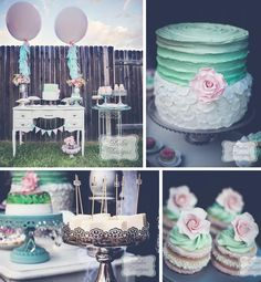 Mint and Pink Dessert Table via Kara's Party Ideas Rosa Desserts, Pink Desserts, Wedding Desserts, Pink Dessert Tables, Dessert Buffet, Dessert Party, Candy Buffet, Dessert Ideas, Baby Shower