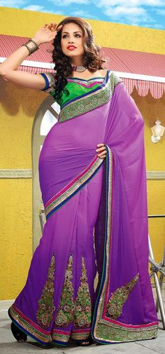 $79.3 Purple Silk A Line Embroidery Saree 25759
