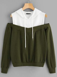 To find out about the Cold Shoulder Two Tone Hoodie at SHEIN, part of our latest Sweatshirts ready to shop online today! Girls Fashion Clothes, Teen Fashion Outfits, Mode Outfits, Girl Fashion, Stylish Dresses, Stylish Outfits, Classy Outfits, Mode Kpop, Cute Comfy Outfits