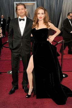 The 84th Annual Academy Awards    Brad Pitt with Angelina Jolie, in Atelier Versace with Salvatore Ferragamo shoes.
