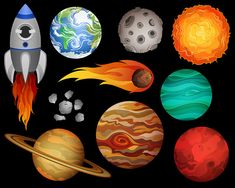 Outer Space Clip Art - Set of 10 X-Large 300 DPI Vector, PNG, and JPG Files - Hand Drawn Planets and Space Design Elements Clipart - Christopher's Birthday party - Outer Space Party, Outer Space Theme, Space Doodles, Clip Art, Aliens, Cosmos, Design Elements, How To Draw Hands, Artwork