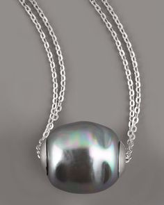 Baroque Pearl Pendant Necklace, Gray by Majorica at Neiman Marcus.