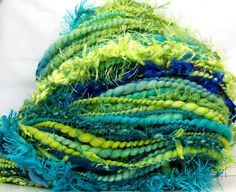 HandSpun Art Yarn merino wool bulky Electric Wave by kittygrrlz, $60.00