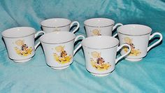 Holly Hobbie Tea Cups Set of 6 Mugs 1973 Collectible Gold Porcelain Adult Size