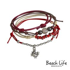 Crab Bracelet $14.99 Secret keeper of the deep this tiny crab dangles bravely from crimson cords and chain among mini glass beads. Stack up on style! Bracelet set includes 4 individual pieces.  • jewelry type - slip knot bracelets  • style - beach, surf, bohemian  • charm bracelet - crab  • charm theme - animal, nature, astrological sign  • quantity - 4 beach bracelets  • size - adjustable bracelets fit a 6-10 inch wrist  • color - neutrals, brown, red
