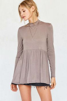 Kimchi Blue Gumdrop Mock-Neck Babydoll Top - Urban Outfitters