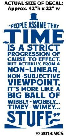 "Amazon.com - XTRA-LARGE - ""Time Is Wibbly Wobbly, Timey Wimey Stuff"" Wall Décor Sticker Vinyl Decal - Doctor Who Quote - Tardis - Wall Decor..."