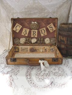 Vintage Suitcase Wedding Card Holder Shabby Chic Wedding Rustic Country Wedding