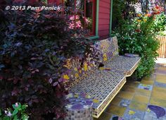 Tiled bench with color-matched plants. Keeyla Meadows Garden: San Francisco Garden Bloggers Fling | Digging