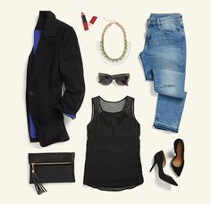 Get right for girls' night with this effortlessly cool look. Distressed denim paired with a classic black blazer instantly create a modern vibe. Mesh details & bold statement jewelry keep you on-trend, while your go-to pumps add a bit of sass. Schedule a Fix to glam up your going-out get-up!