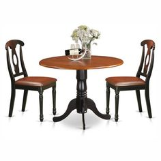 East West Furniture Dublin 3 Piece Drop Leaf Round Dining Table Set with Antique Wooden Seat Chairs Round Dining Table Sets, Nook Dining Set, Solid Wood Dining Set, Kitchen Dining Sets, 3 Piece Dining Set, Table And Chair Sets, Dining Room Sets, Kitchen Chairs, Dining Room Table
