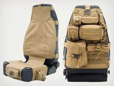 Smittybilt Tactical G. Seat Covers can fit most Jeep models, front and rear seats. They have five pouches that can be arranged in different ways. Accessoires 4x4, Accessoires Camping Car, Tactical Survival, Survival Gear, Tactical Gear, Tactical Truck, Survival Gadgets, Survival Weapons, Tactical Backpack