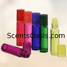 6 10ml 3 MEGA SALE  Empty Glass RollOn Bottles With Cap Lip Gloss Rollers and Essential oil safe Pink red blue black yellow green roll on