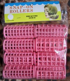 Pink 1960s Small Snap-On Hair Rollers