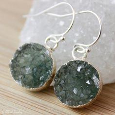 Green Druzy Earrings  Druzy Quartz Earrings  925 Silver by OhKuol, $45.00 #green #gemstone #jewelry #earrings #druzy #druzyjewelry