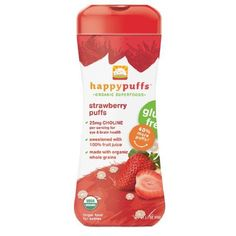 Happy Puffs Organic Puffs Finger Food for Babies, Strawberry 2.1 oz (60 g) (Pack of 1)