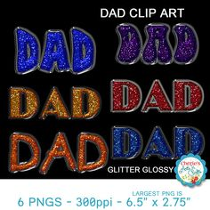 Dad Glitter Glossy Text Clip Arts  PNG Images  Father's