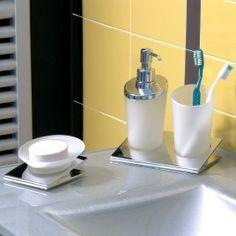 IDEA #bathroom #accessories #collection #design #ErvasBasilicoGirardi #dispenser #tumbler #soapholder #glass #chrome #bathroomdesign