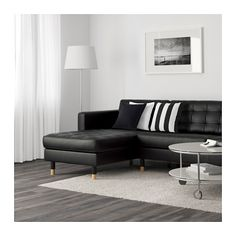 LANDSKRONA 2 Récamieren und 3er-Sofa - Grann/Bomstad schwarz, Holz - IKEA
