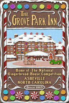 The Grove Park Inn - Asheville, North Carolina - Gingerbread House - Lantern Press Poster